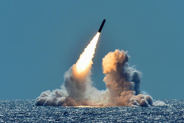 An unarmed Trident II D5 missile is test-launched from the Ohio-class U.S. Navy ballistic missile submarine USS Nebraska off the coast of California