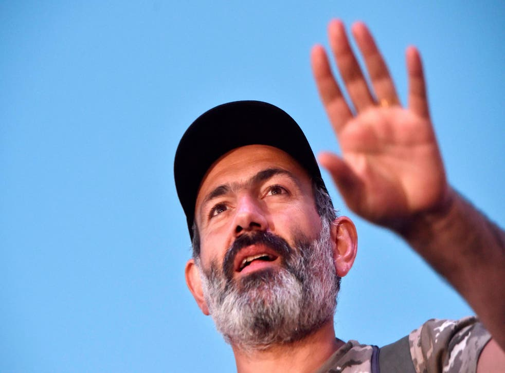 Armenian opposition leader Nikol Pashinyan attends a rally in Yerevan on 2 May