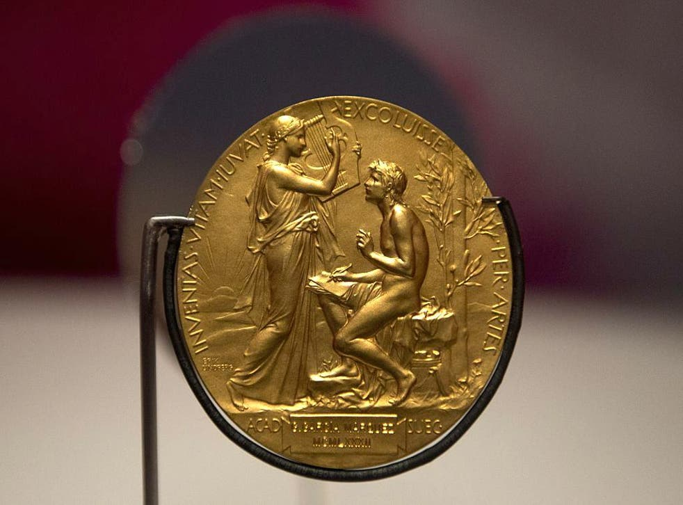 The Nobel Prize gold medal awarded to Colombian writer Gabriel Garcia Marquez is exhibited at the National Library of Colombia in Bogota, on 17 April, 2015.