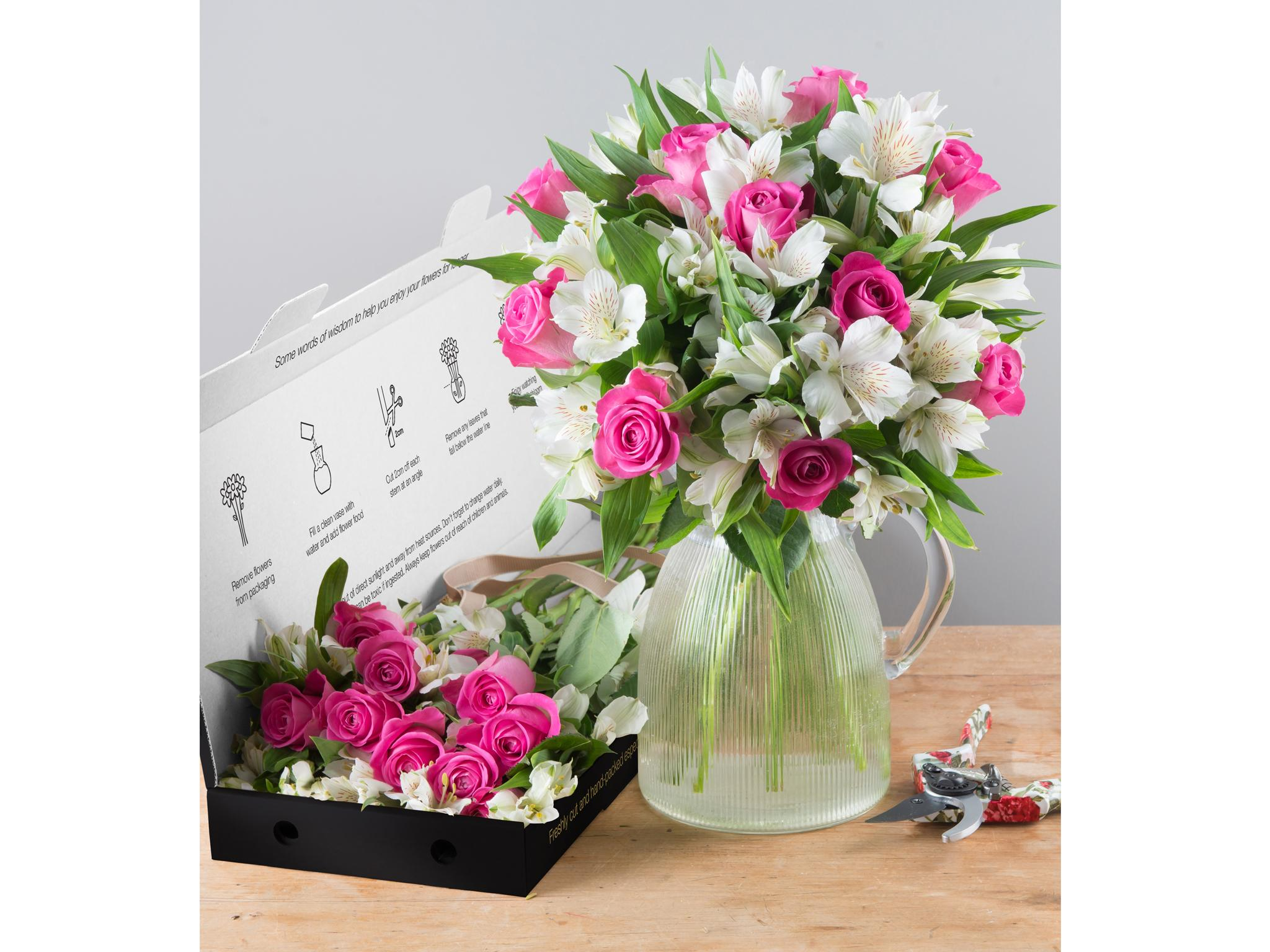 8 best letterbox flowers the independent at 25 this bouquet of pink roses with white alstroemeria from interflora is a great mid range option suited to all occasions izmirmasajfo