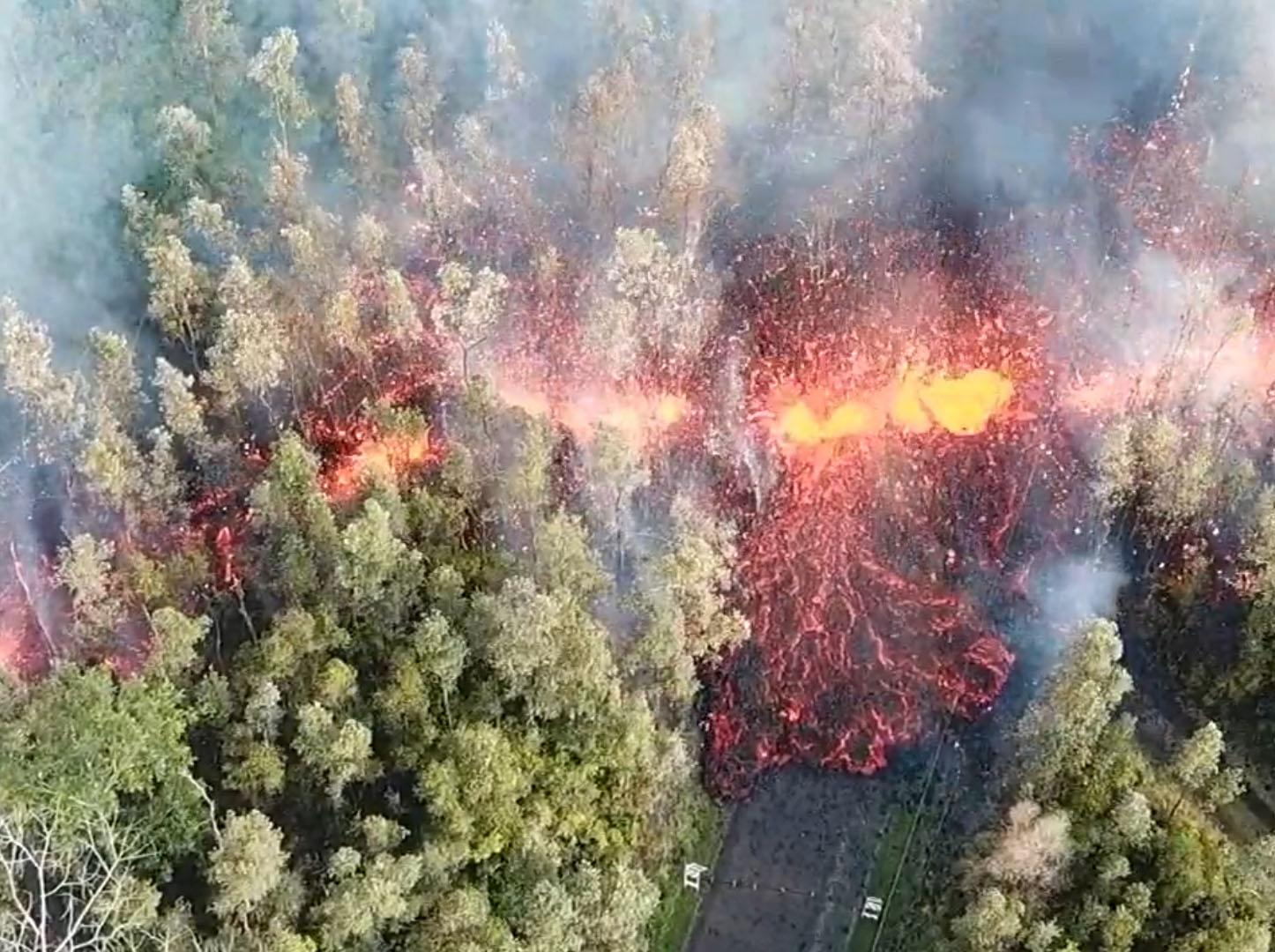 Hawaii volcano latest: Drone footage shows lava spewing out of ground near residential area after Mount Kilauea erupts