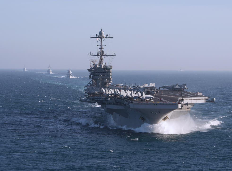 The aircraft carrier USS Harry S. Truman during a training exercise in the Atlantic