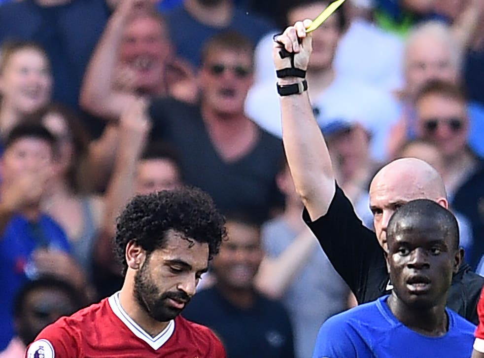Mohamed Salah was booked in the first half