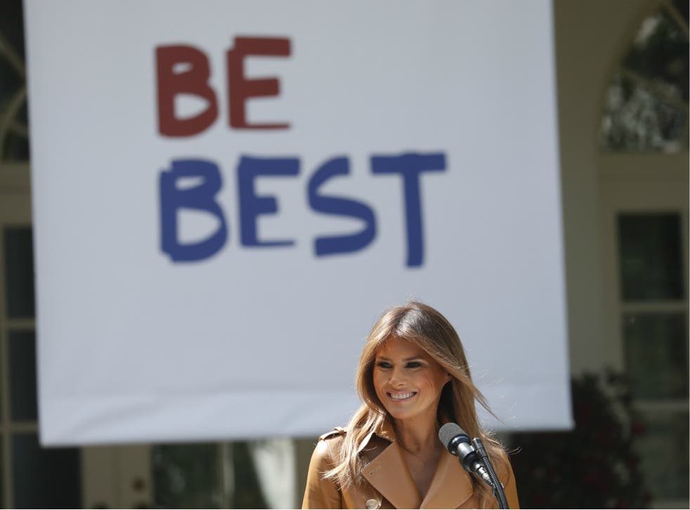 """US First Lady Melania Trump announces the launch of her """"Be Best"""" initiative at the White House on 7 May 2018."""