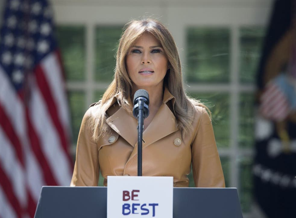 US first lady Melania Trump announces her 'Be Best' initiative in the Rose Garden of the White House on 7 May