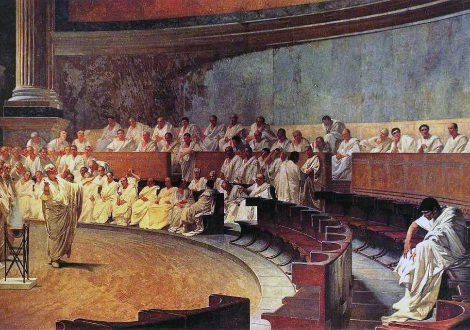 Cicero attacks Catilina at the Roman Senate, from a 19th-century fresco