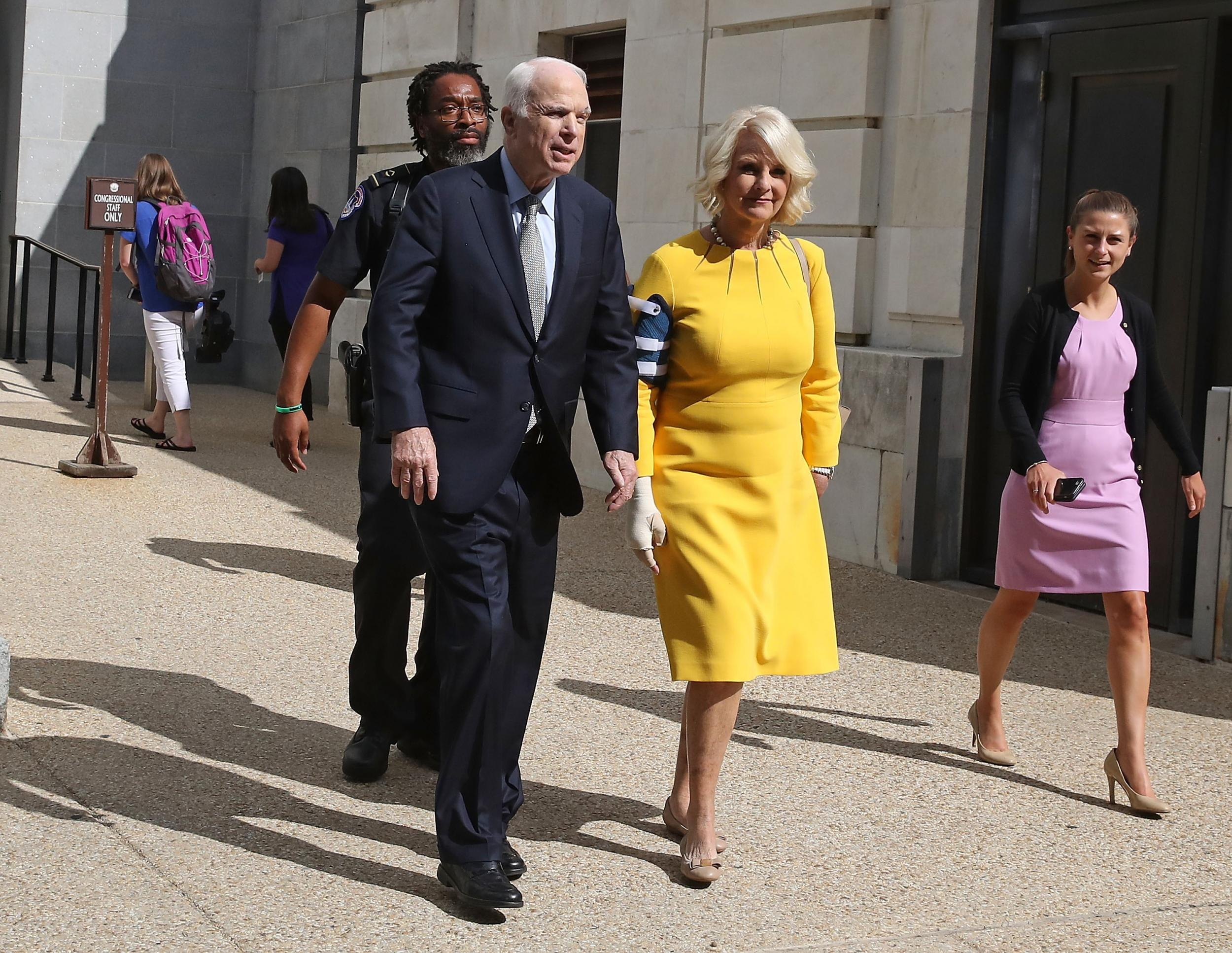 John McCain's wife hits out at White House staffer who mocked her ailing husband