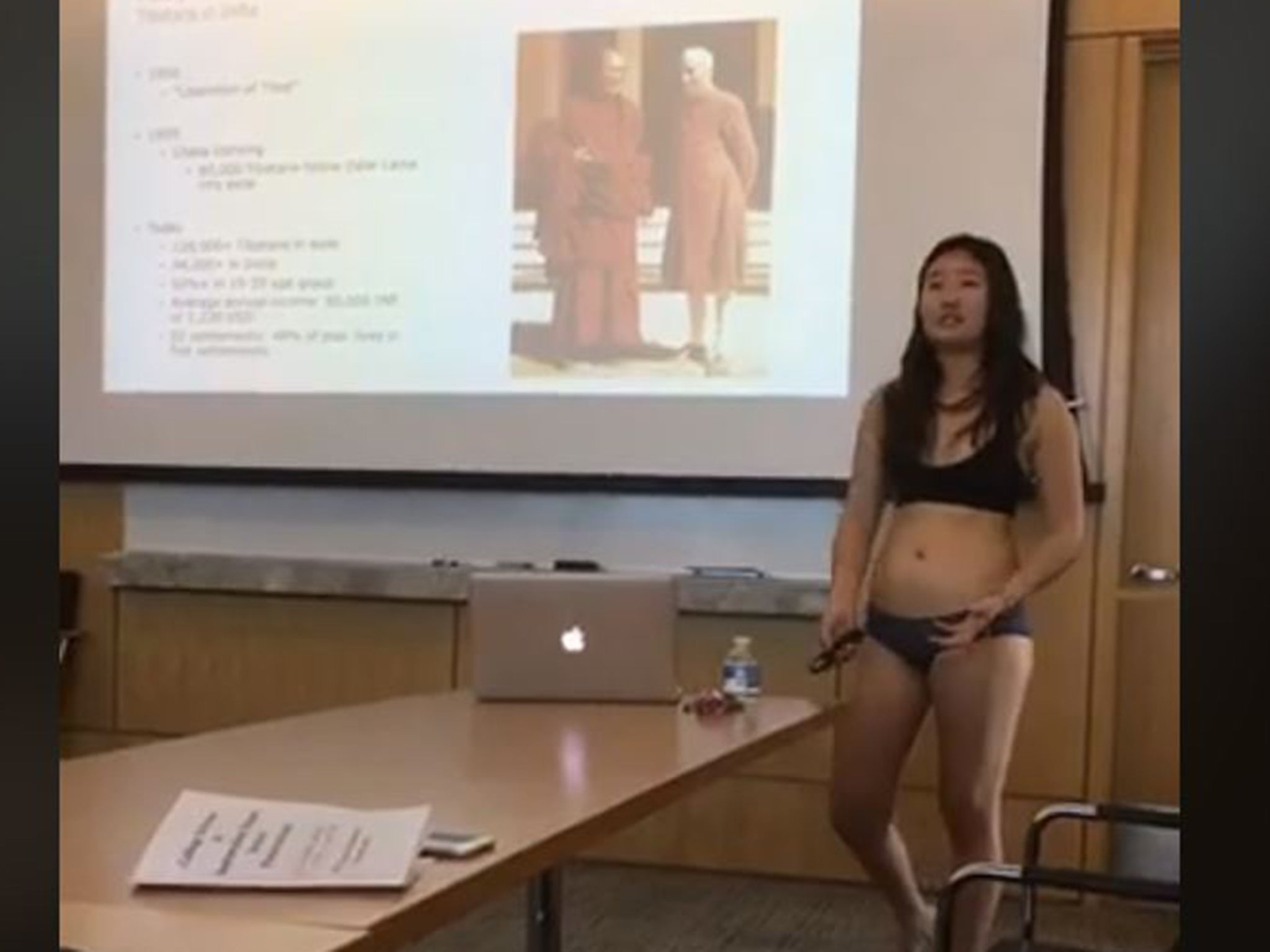 6133dabb7 Student presents thesis in underwear after professor says her  shorts are  too short