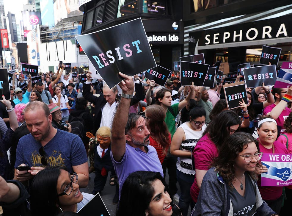 Protesters in New York last year demonstrating at President Trump's decision to reinstate a ban on transgender people serving in the military