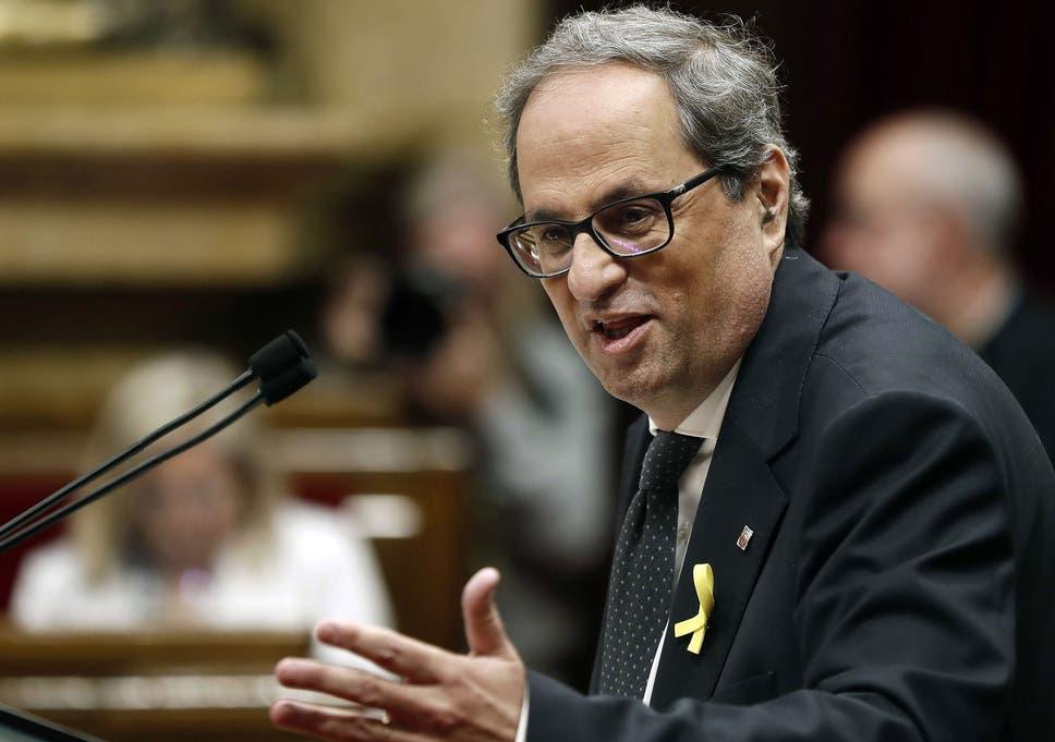 Image result for Catalan regional president Quim Torra
