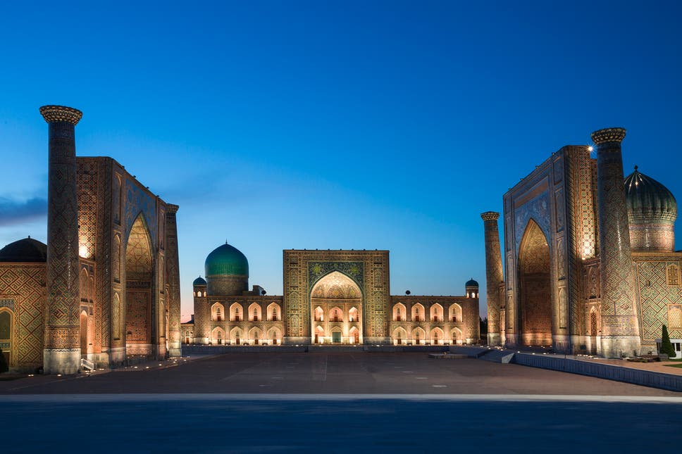 The Registan was the heart of the ancient city of Samarkand of the Timurid Empire, now in Uzbekistan.