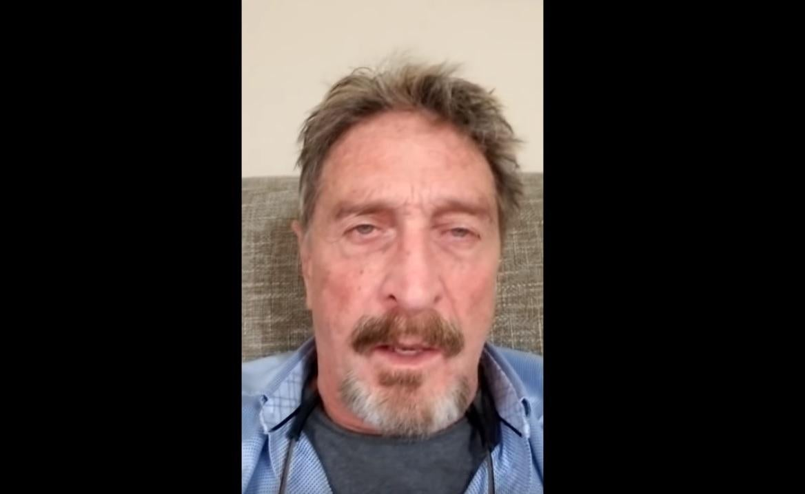 John McAfee says he's on the run again – this time from the