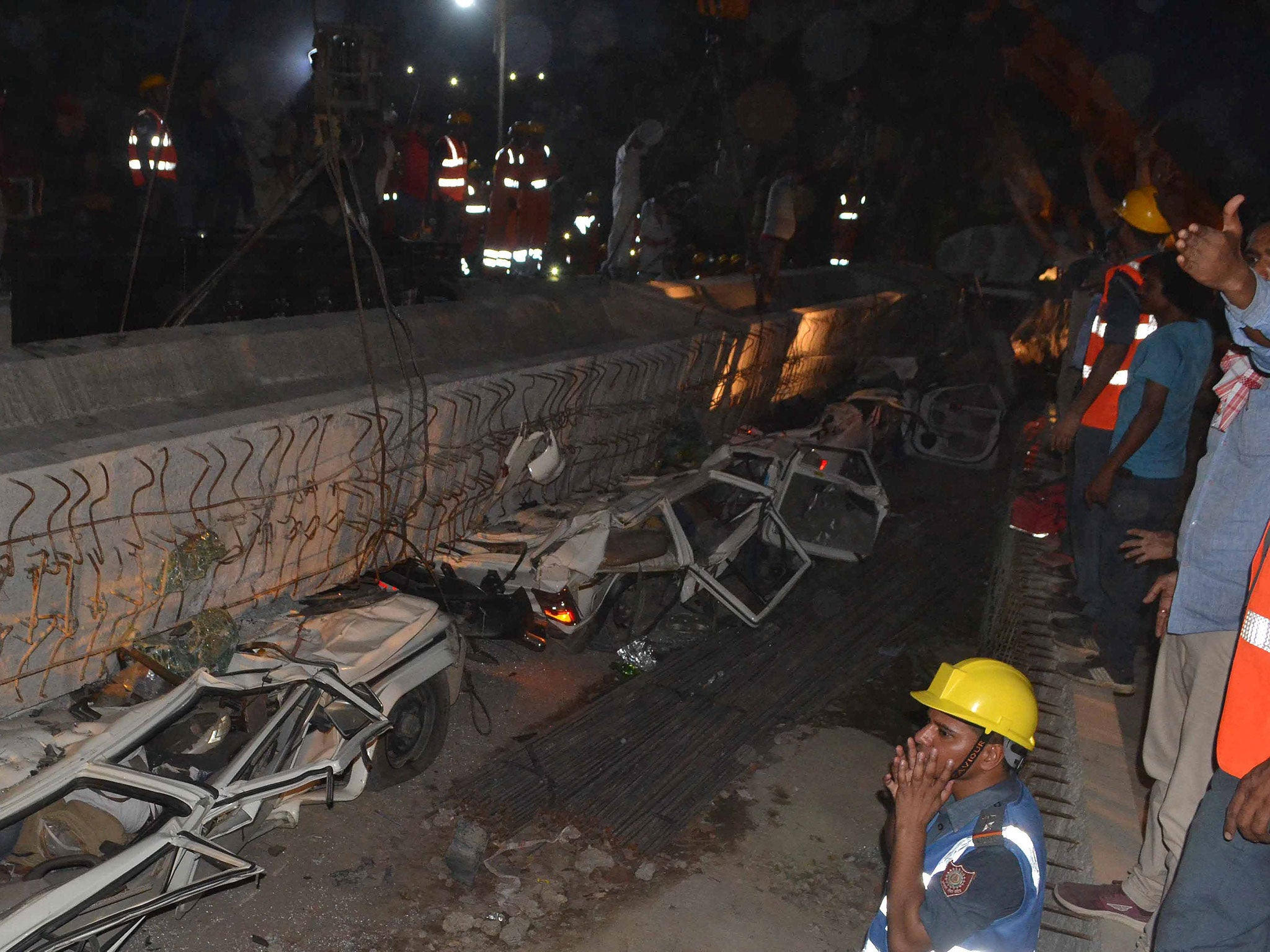 India motorway collapse kills 16 after concrete slab falls onto crowded road
