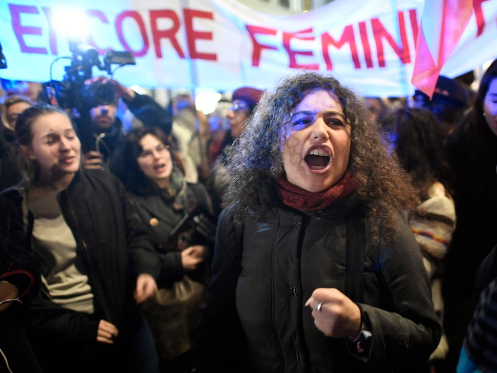 Women demonstrate to call for a legislative change to set a minimum legal age for sexual consent in front of the Justice ministry in Paris a week after a jury acquitted a 30-year-old man who was accused of raping an 11-year-old girl