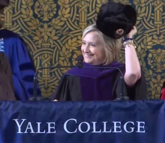 Hillary Clinton mocks Trump by donning Russian hat during Yale speech: 'If you can't beat them, join them'