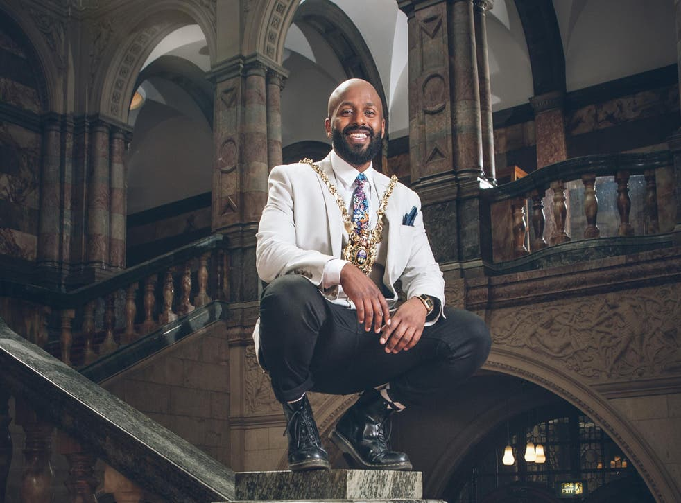 Councillor Magid Magid, in his now famous pose after inauguration as Sheffield's Lord Mayor