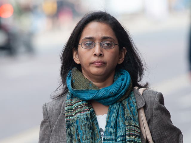 Dr Vaishnavy Laxman outside a General Medical Council tribunal in Manchester