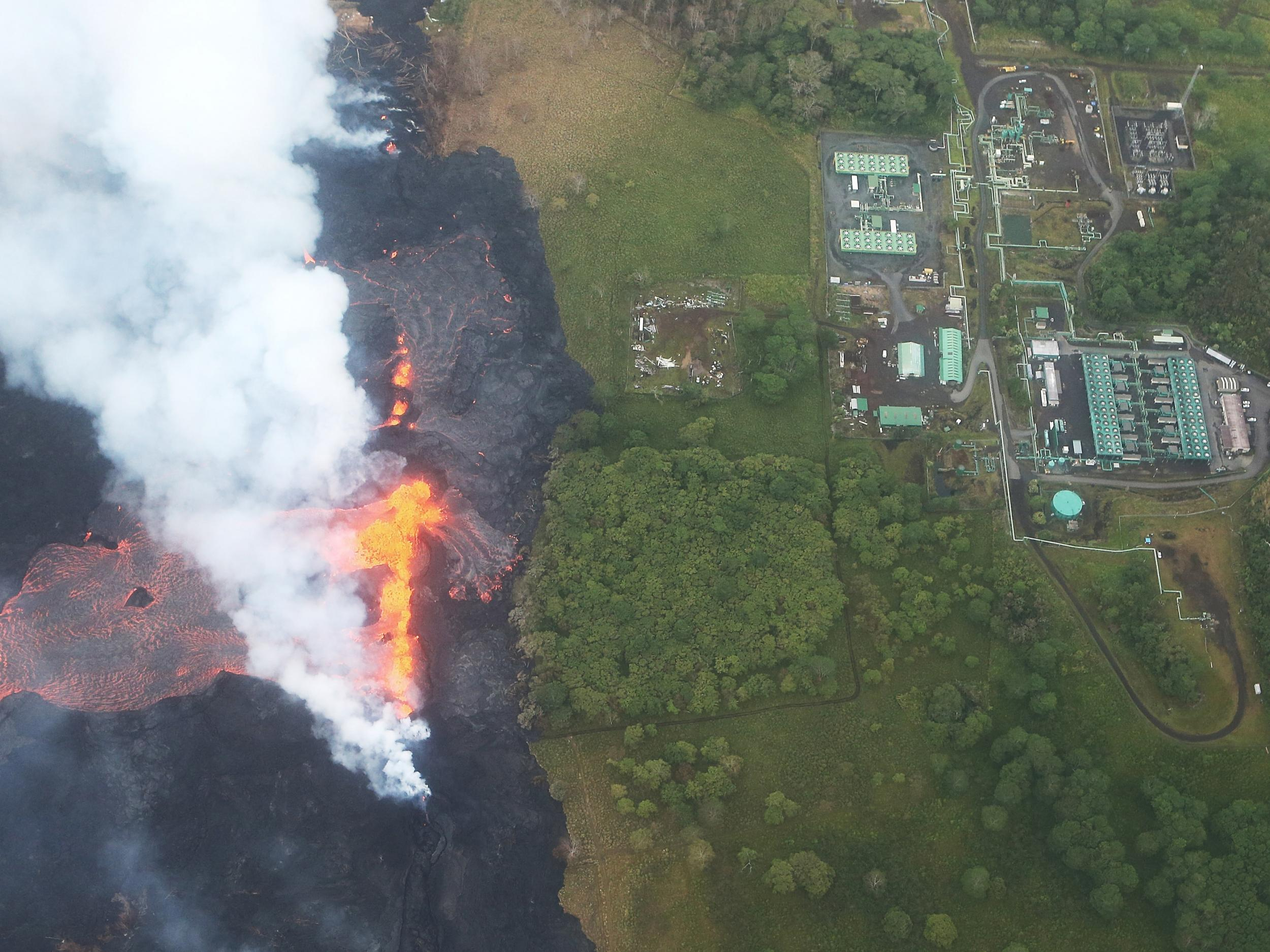 Hawaii volcano latest: Molten lava flows onto power plant site amid fears over deadly gases