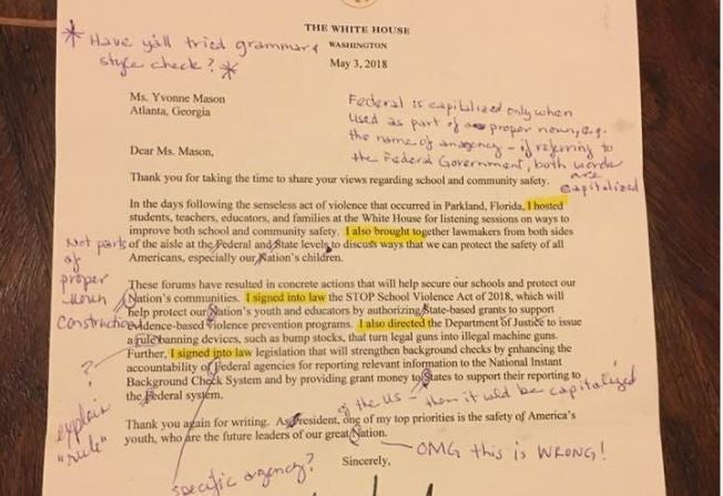 Retired English teacher receives letter from Trump, corrects