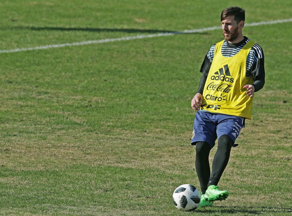 Lionel Messi in training with Argentina ahead of this summer's World Cup