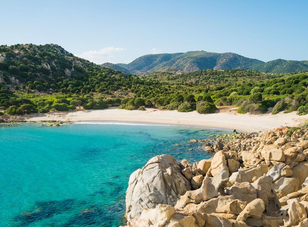Cala Cipolla beach in Chia, Sardinia, Italy