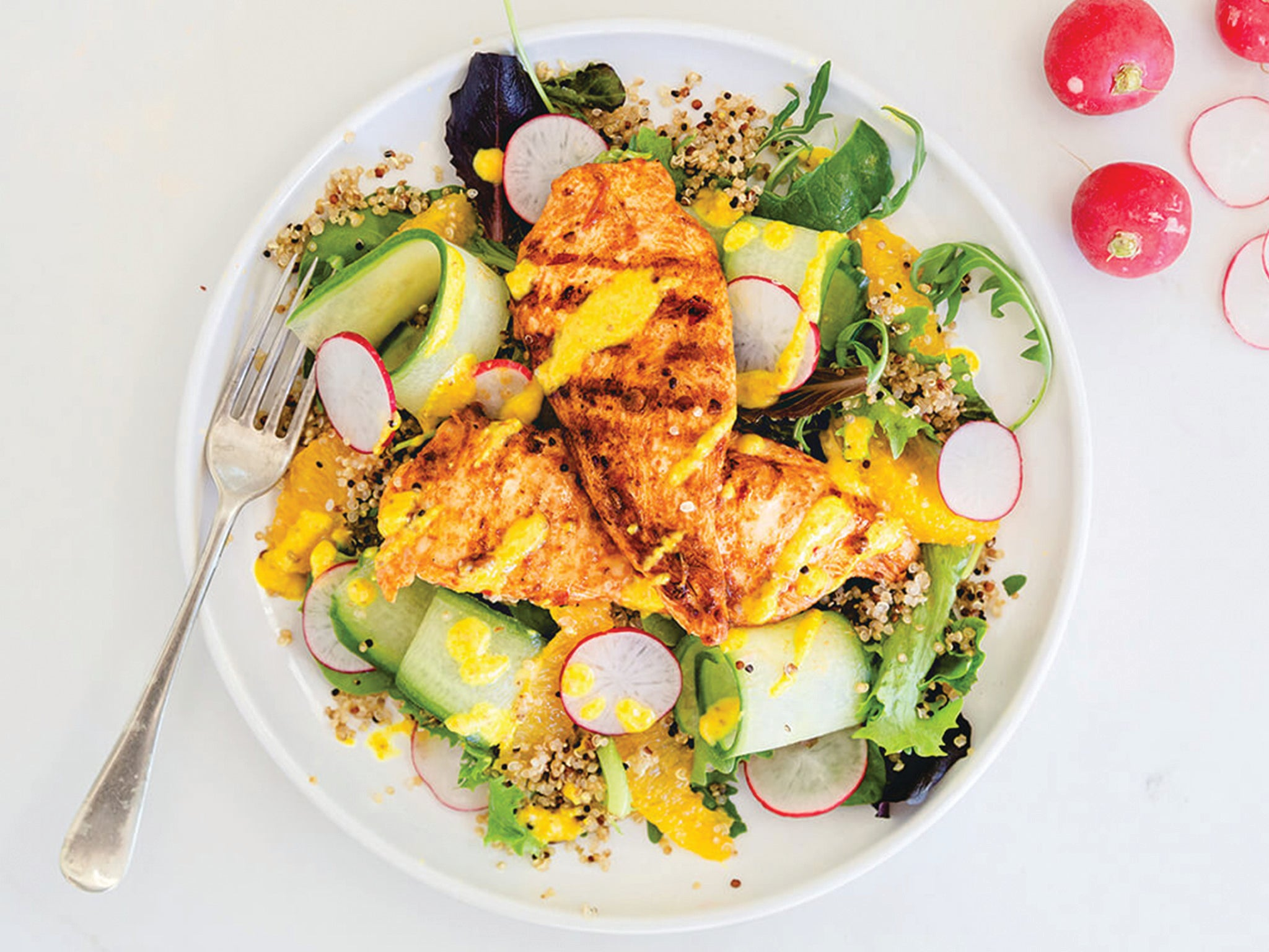 How to make harissa chicken, cucumber ribbons and orange 1