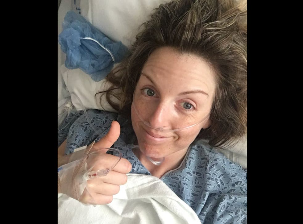 Claire Nelson recovering after having an operation on her pelvis