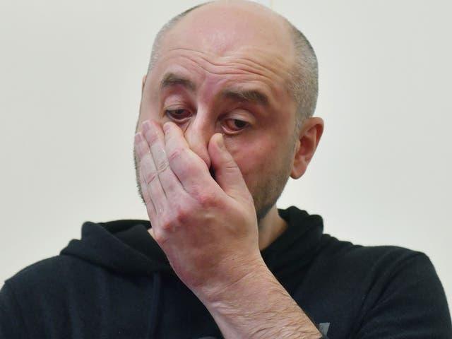 Russian anti-Kremlin journalist Arkady Babchenko reacts during a press conference at Ukrainian Security Service in Kiev