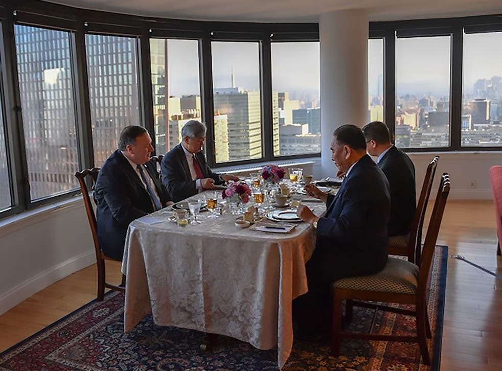 Kim Yong Chol (R), Vice Chairman of North Korea, during his dinner meeting with US Secretary of State Mike Pompeo (L) on May 30, 2018 in New York