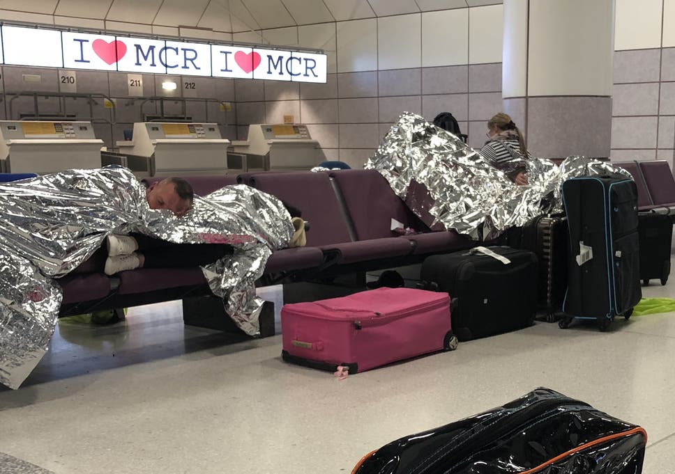 Stranded TUI passengers forced to sleep on Manchester airport floor