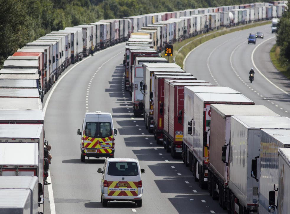 Lorries had to use the M20 as an overflow lorry park in 2015 during major cross-channel disruption