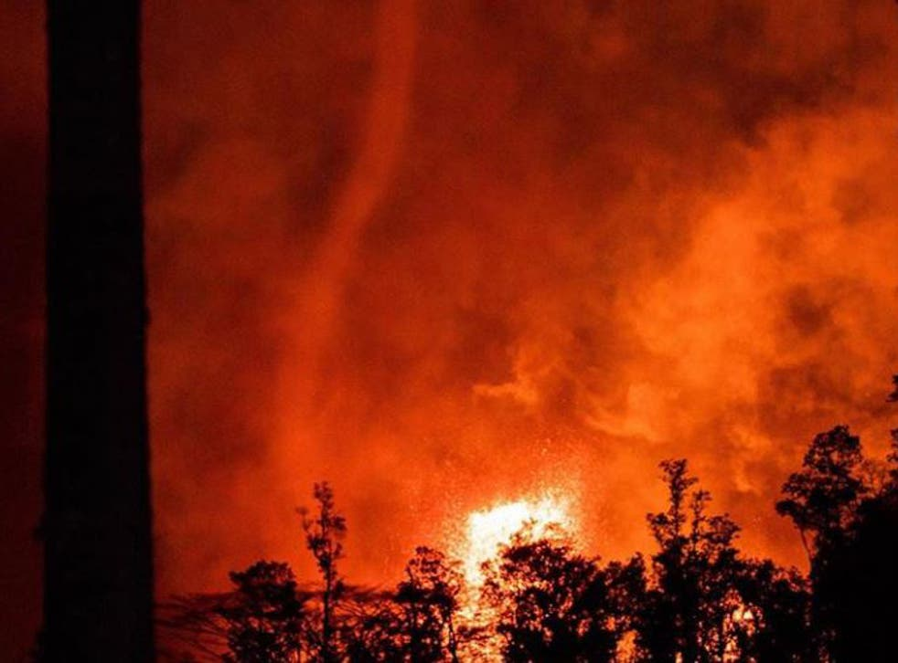 Volcanic tornado forms above Kilauea on Hawaii's Big Island