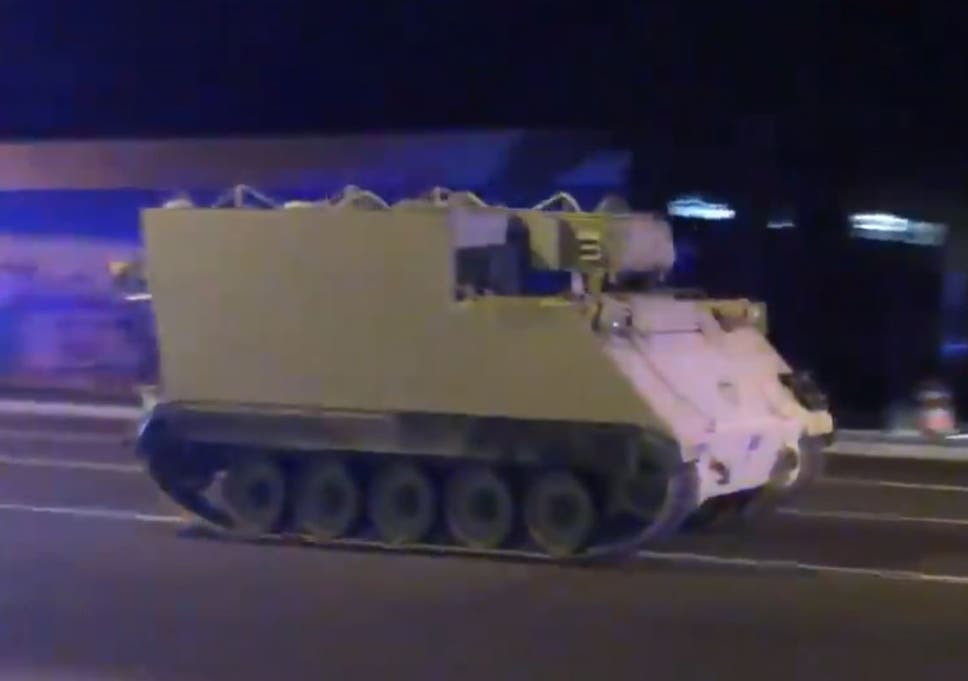 Man steals 'tank-like' armoured vehicle from National Guard, leading