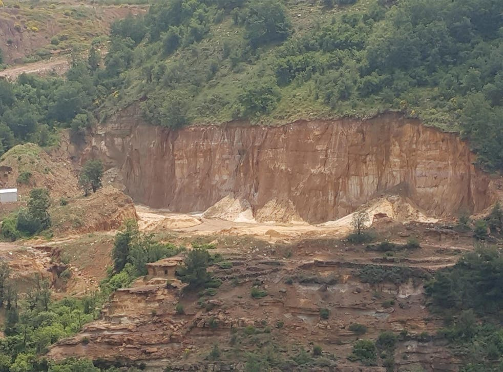A quarry cuts into an entire hill in the Lebanese mountains at Tarshish (Nelofer Pazira)