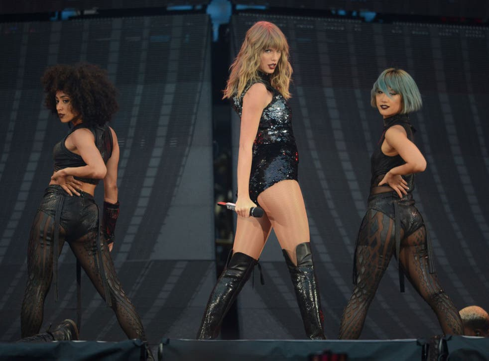 Taylor Swift performs on stage during the Taylor Swift reputation Stadium Tour in Manchester