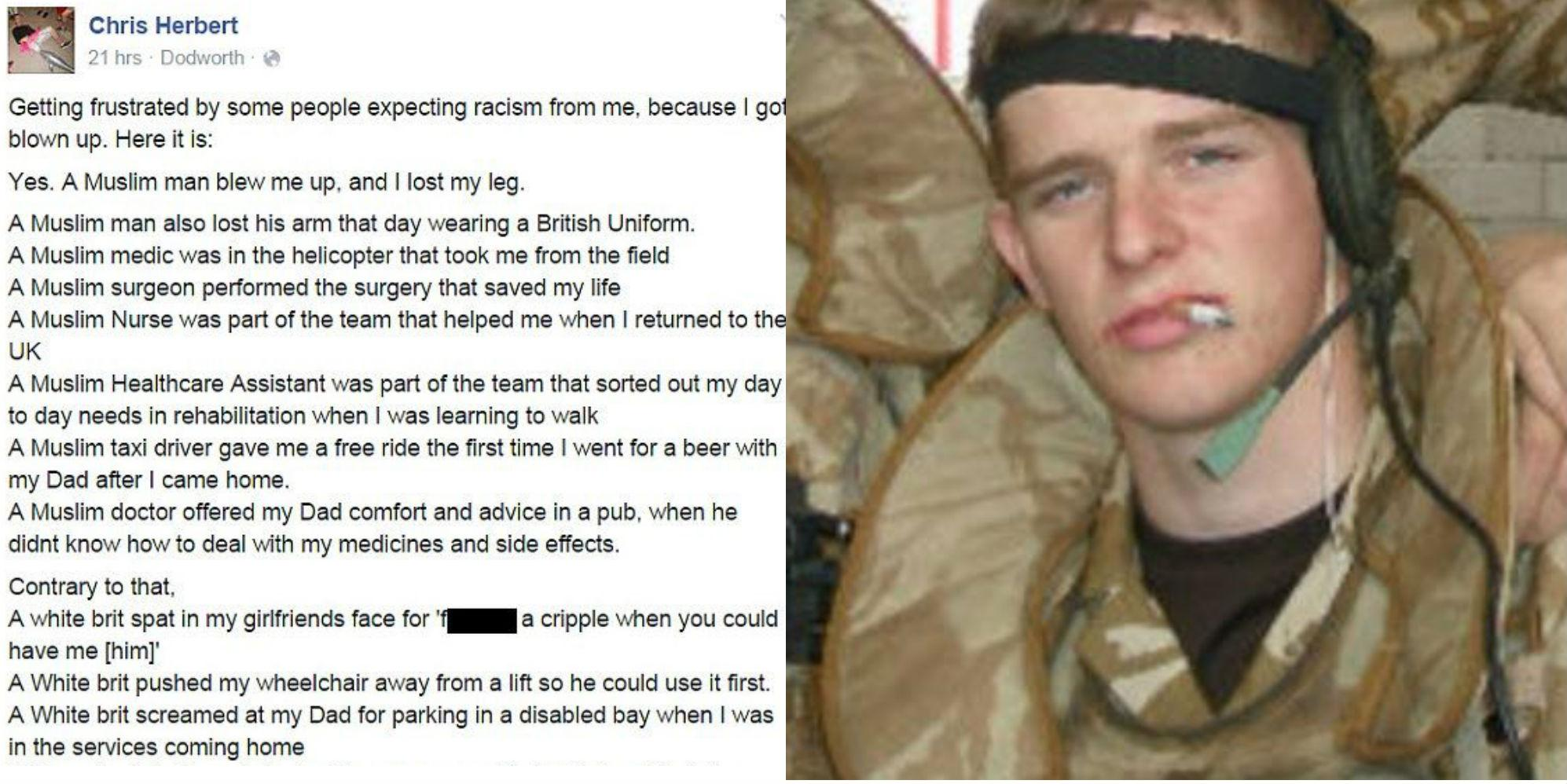 British soldier who lost leg in Iraq shares powerful message to those who think he should be Islamophobic
