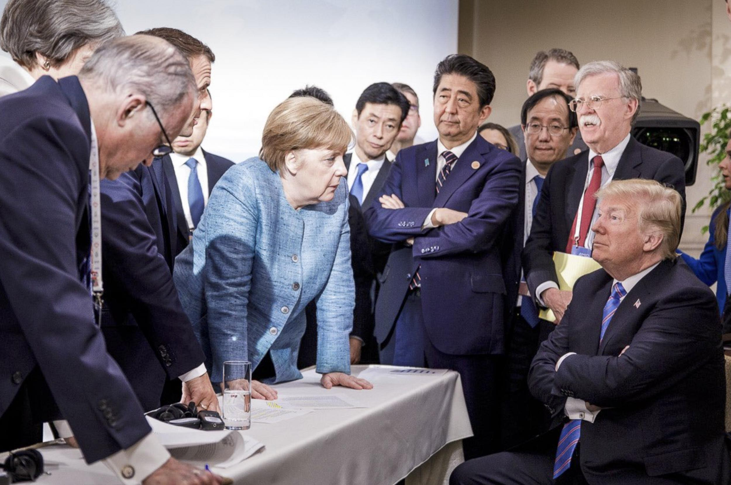 Angela Merkel shares viral photo of her staring down Donald Trump at G7