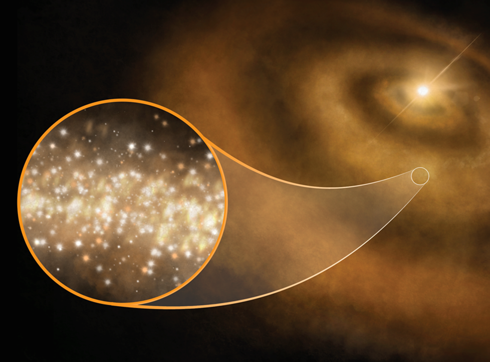 Nanoscale diamonds surrounding young stars in the Milky Way appear to be responsible for a mysterious glow astronomers have observed in the night sky