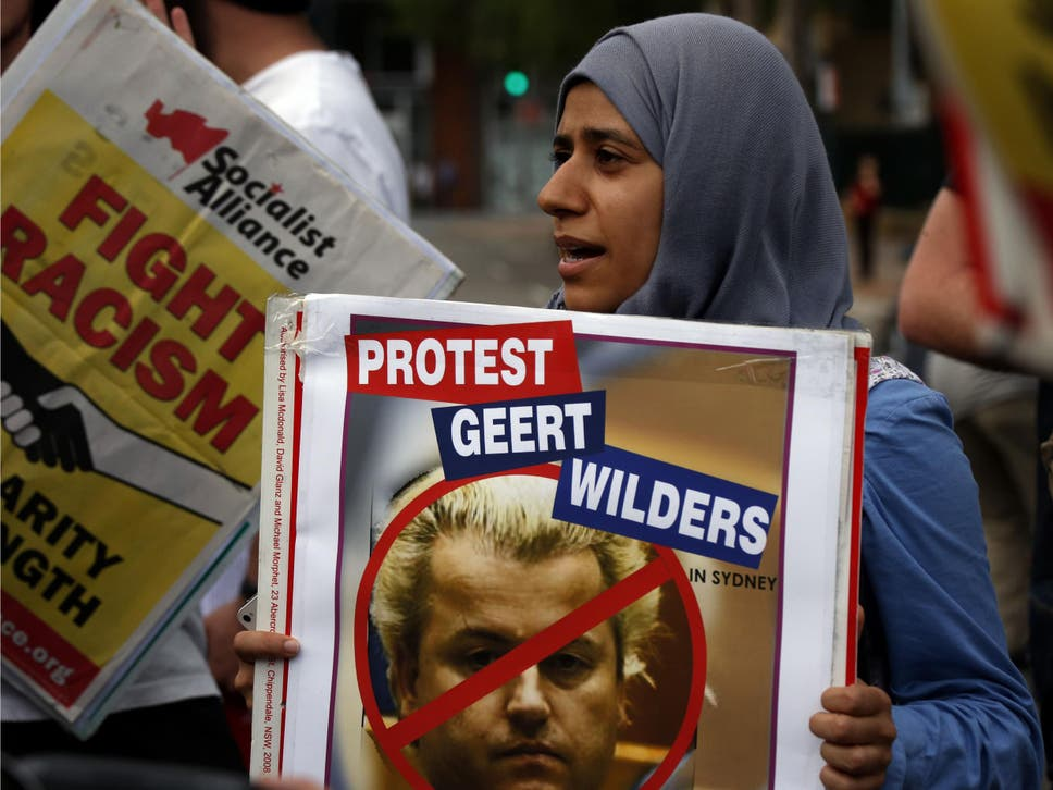 An Australian protester outside a Sydney venue where Dutch anti-Islam MP Geert Wilders was speaking