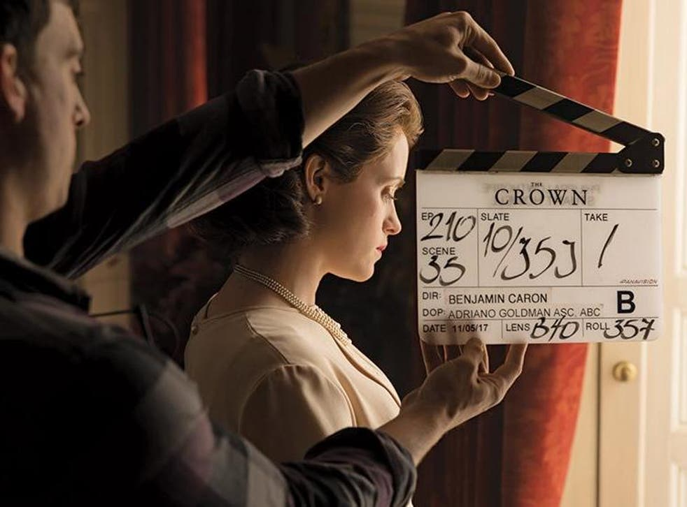 A behind-the-scenes shot of Netflix series 'The Crown'