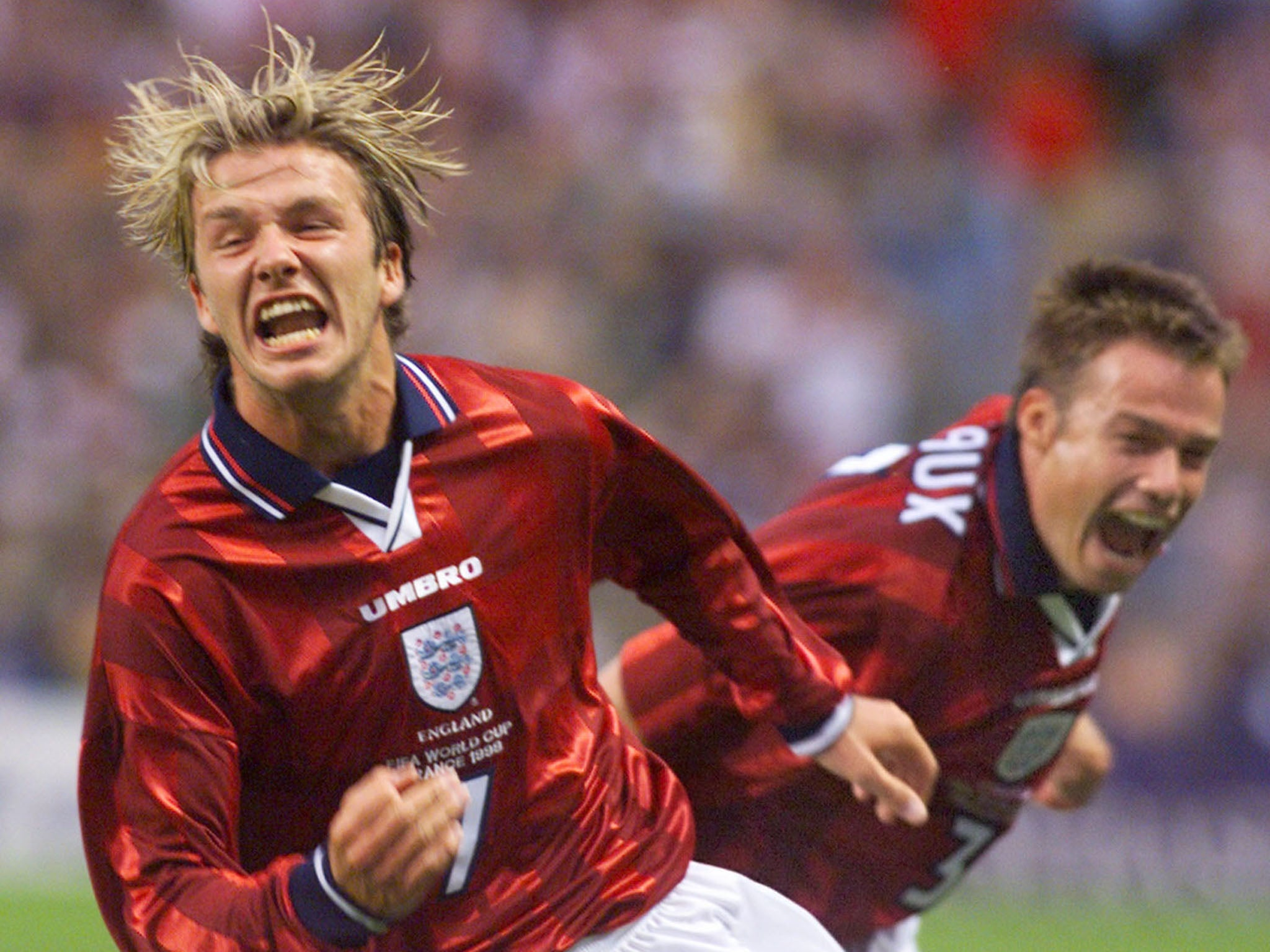 David Beckham s first World Cup goal came against Colombia in 1998  (AFP Getty Images) 887734570e8