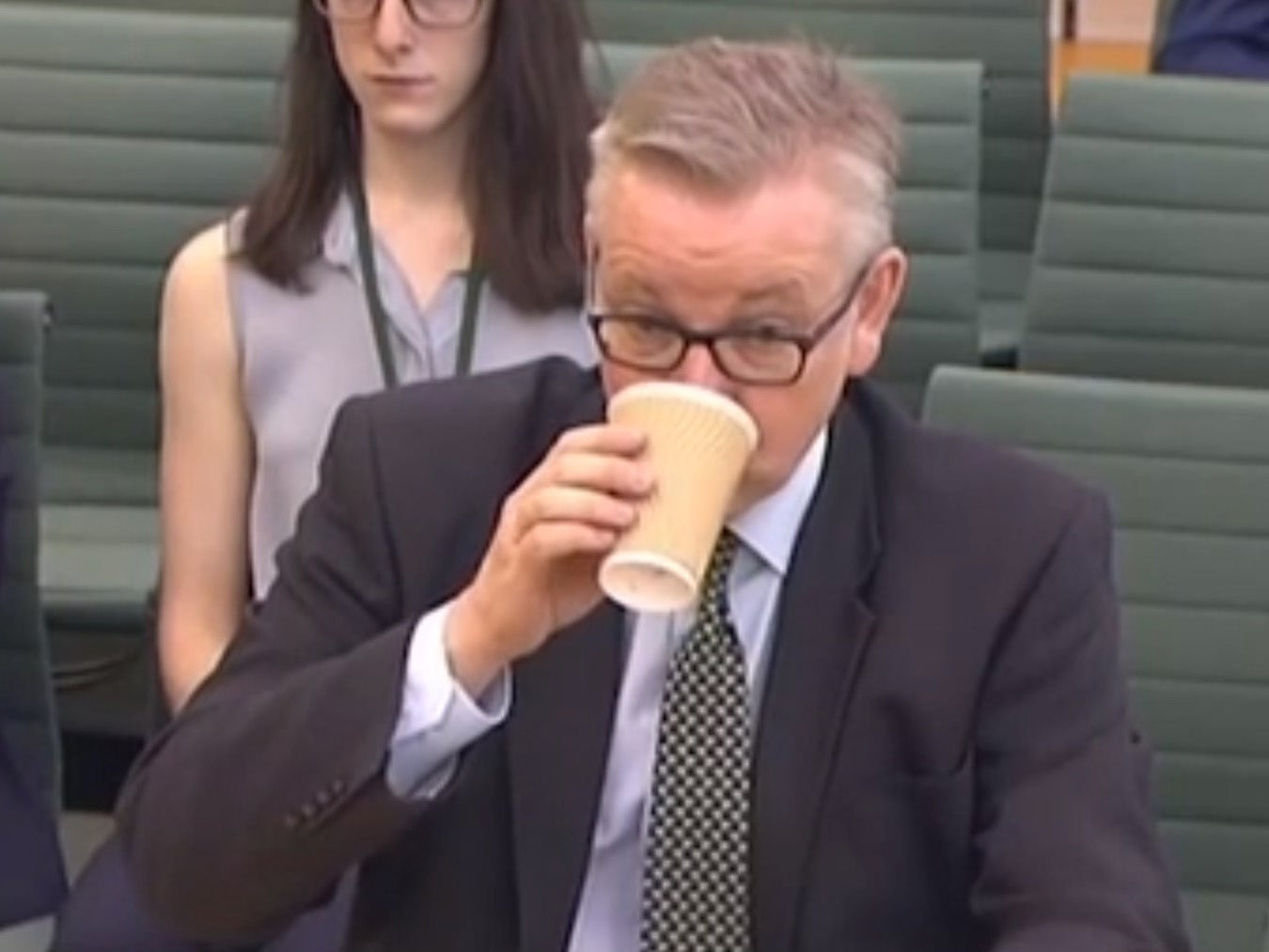 Michael Gove turns up to a meeting on the environment with a disposable coffee cup