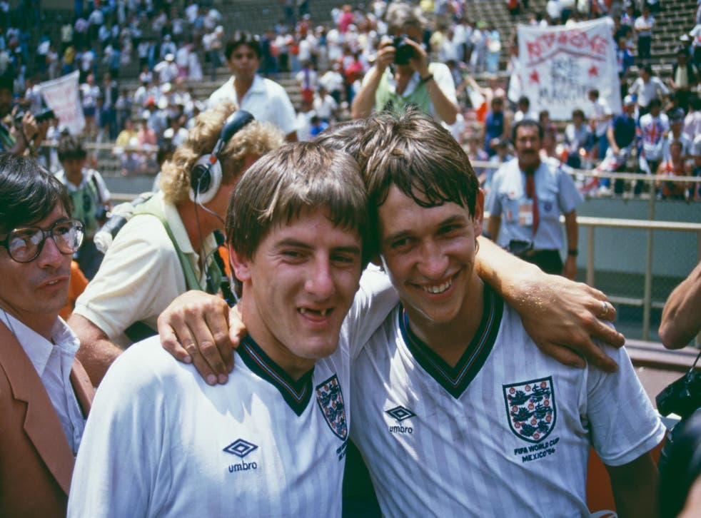 Peter Beardsley and Gary Lineker after England's 3-0 win over Paraguay in the last 16 at Mexico '86
