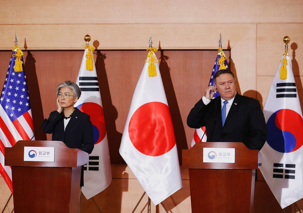 Mike Pompeo and South Korean Foreign Minister Kang Kyung-wha attend a joint news conference at the Foreign Ministry in Seoul, South Korea