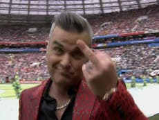 Robbie Williams reveals why he gave the middle finger during World Cup