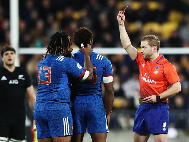 Benjamin Fall was shown a red card in the 12th minute of France's 26-13 defeat by New Zealand