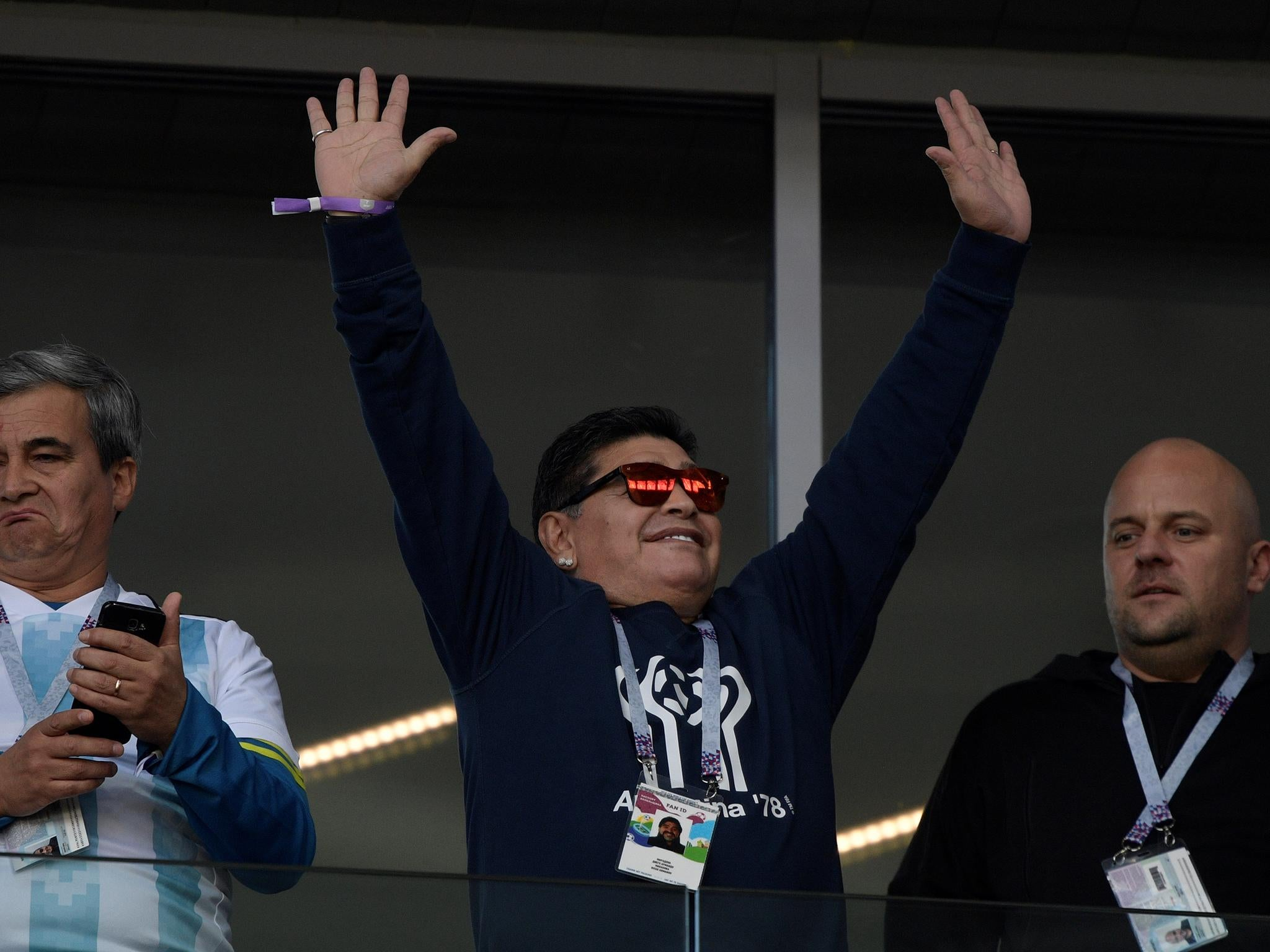 World Cup 2018 Diego Maradona Accused Of Making Clearly Racist Gesture At Young South Korean Fans The Independent The Independent