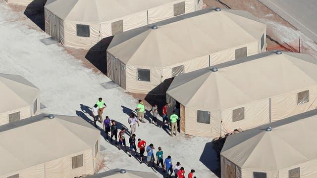 Immigrant children, many of whom are separated form their parents, are housed in Texas' tent city