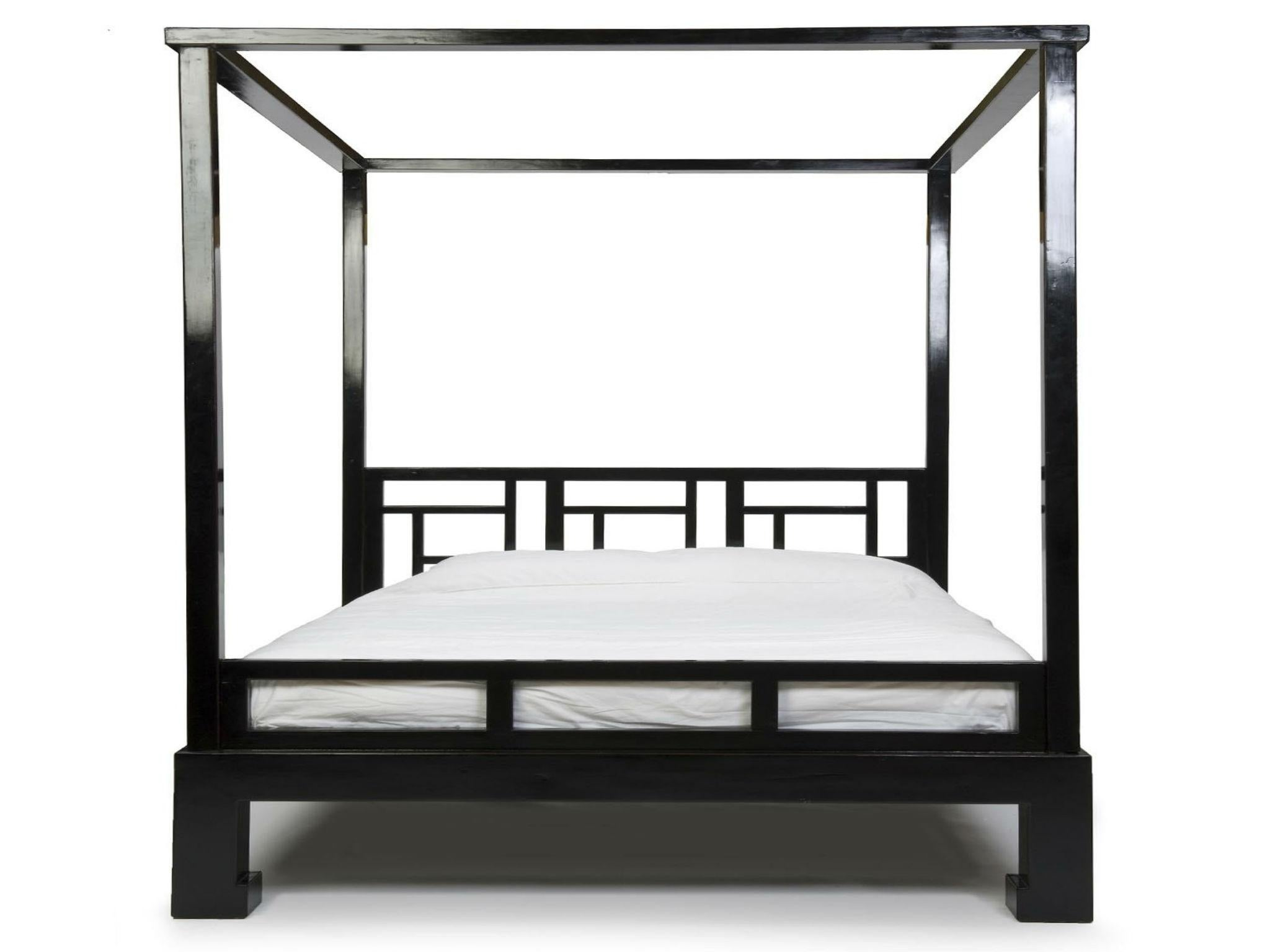 King Size Black Lacquer Four Poster Bed 2,895, Orchid Furniture
