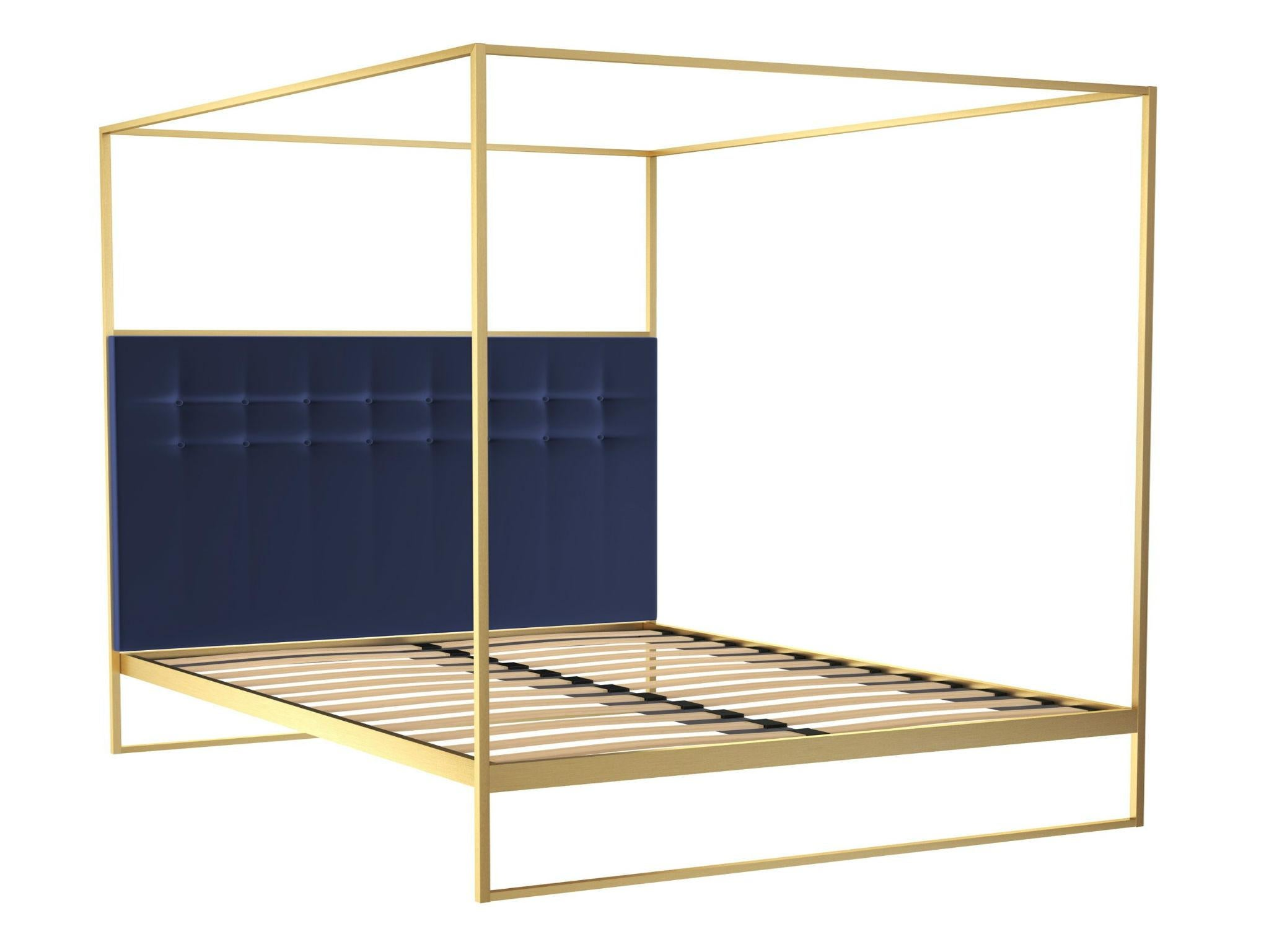 Gold Frame Double Canopy Bed With Blue Headboard 1,565, Out